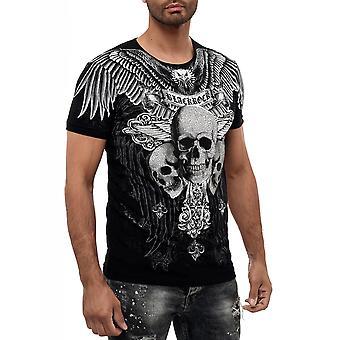 Menn kortermet t-skjorte rundt halsen hodeskaller print biker død print design