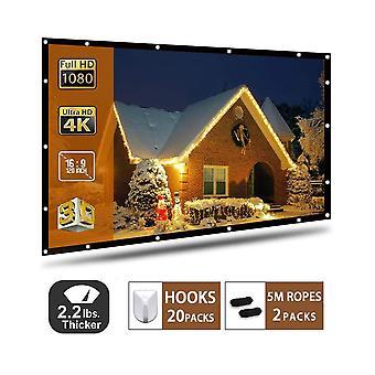 Projektor-Bildschirm 120 Zoll, tragbare Projektionsfläche 16:9 hd 4k faltbar für Heimkino Kino ind