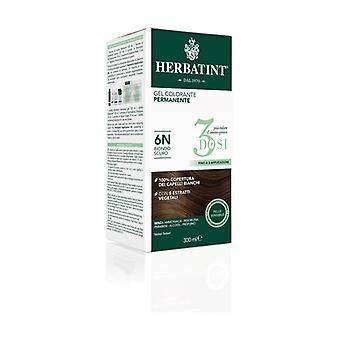 Permanent färg gel hårfärg 3 doser 6N mörk blondin 300 ml