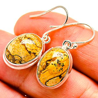 "Picture Jasper Earrings 1 1/4"" (925 Sterling Silver)  - Handmade Boho Vintage Jewelry EARR409084"