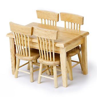 Dům pro panenky Miniaturní jídelní stůl / židle dřevěný nábytek set
