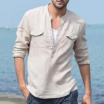 Men's Shirt Summer Long Sleeve, Male Blouse Top, Comfortable Cotton