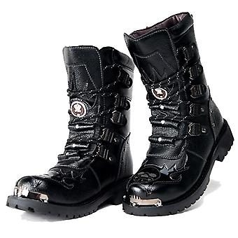Men Military Boots Genuine Leather Motorcycle Boots Men's Punk Boots Warm Snow