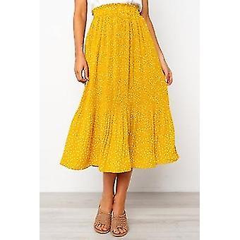 Summer Autumn Casual Chiffon Print Pockets High Waist Pleated Maxi Skirt
