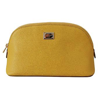 Yellow Toiletry Women Leather Hand Purse Pouch