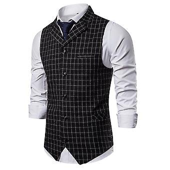 Mens Vest Casual, Business Suit Male, Lattice Väst, Ärmlös Smart