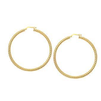 14k goud ronde gedraaid hoepel oorbellen, diameter 40 mm