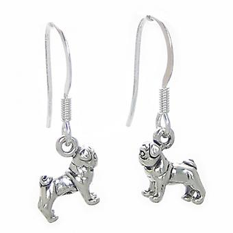 Pug Tiny Dog Oorbellen Sterling Silver .925 Pair Pugs Dogs Drops