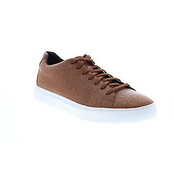 Geox U Deiven  Mens Brown Leather Lace Up Euro Sneakers Shoes