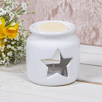 Ceramic White Star Wax Oil Warmer By Lesser & Pavey