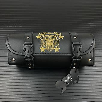 Motorcycle Pu Leather Vintage Front Toolkit Bag Saddlebag Round Barrel Saddle