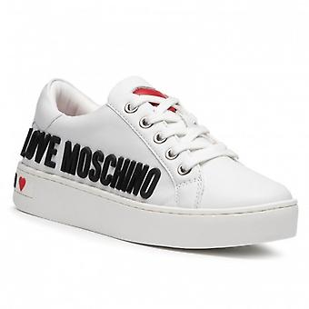Sko Kvinne Kjærlighet Moschino Sneaker Hvit Skinn Bunn Kassett D21mo03