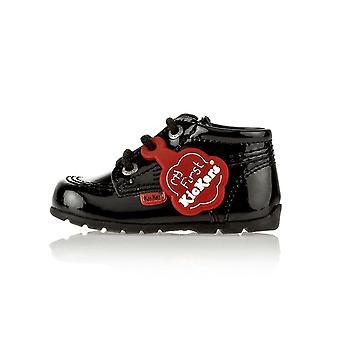 Kickers kick hi b core musta patentti vauvan saappaat kf0000423bxw