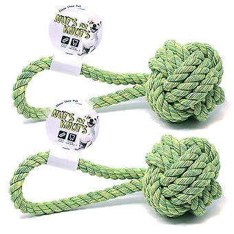2 x Pull Knot Rope Dog Chew Toy Medium 32cm Long Ball Tugger Outdoor Pet Activities Chase Play