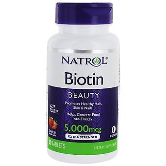 Natrol Biotin Snabbt Lösa upp 5000 mcg 90 Tabletten