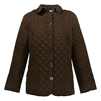 Joan Rivers Women's Quilted Barn Jacket With Printed Lining Brown A384593