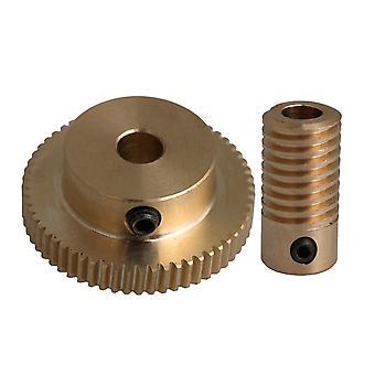 5mm Hole Dia Brass Worm Gear Shaft 60T Gear Wheel DIY Repleace Tool Set