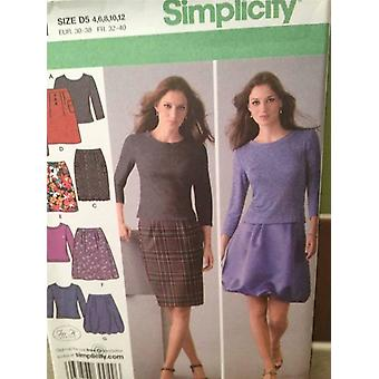 תבנית תפירה פשטות 4041 נשים / מתגעגע חצאיות בגודל העליון 12-20 חדש נימולים