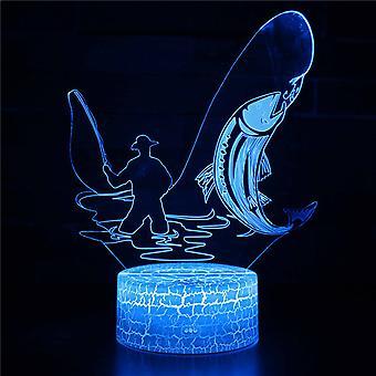 3D Illusion -lamppu 7 väriä Optinen muutos Kosketusvalo USB ja kaukosäädin Art Deco tekevät romanttisesta ilmapiiristä joulun ystävänpäivä'päivän syntymäpäivälahjan #550