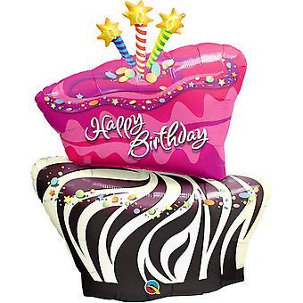Qualatex 41 Inch Happy Birthday Zebra Stripe Foil Balloon
