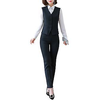 Allthemen Allthemen Women's Fully Lined V-Neck Plaid Economy Dressy Suit Vest Waistcoat and Pant