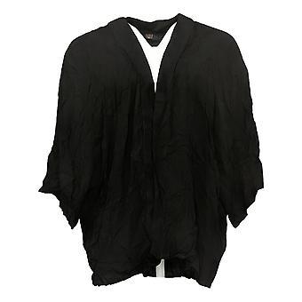 G.I.L.I. lo hizo amar suéter de mujer abierto frente Kimono Negro A354936