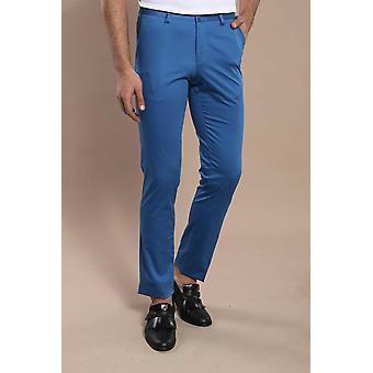 Blue side pocket slimfit cotton pants