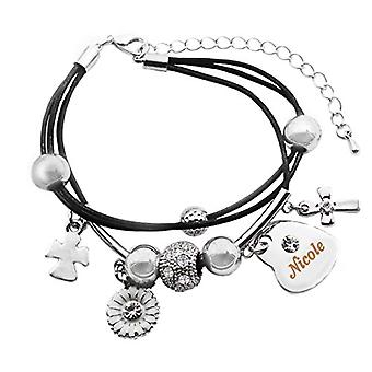 Kigu Nicole - Real leather bracelet, with heart-shaped pendant, plated in 18-carat white gold