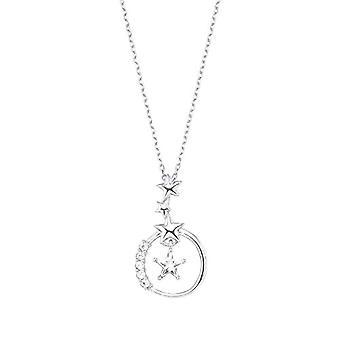 星型のペンダントを持つアモールレディースネックレス、光沢のあるシルバー925、ホワイトジルコン(1)