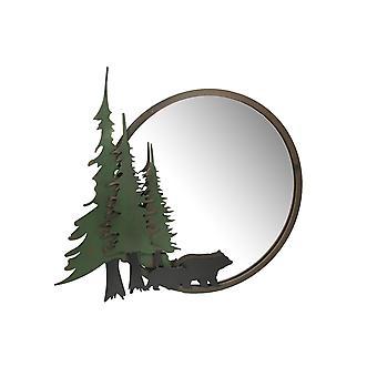 Black Bear Forest Wall Mirror Decorative Metal Bathroom Bedroom Lodge Accent