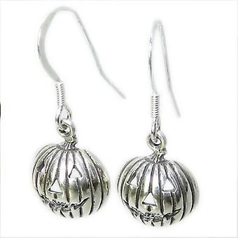 Kürbis Sterling Silber Tropfen Ohrringe .925 X 1 Paar Halloween Tropfen - 15387