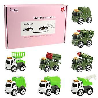 8 Adet 8 adet/4 adet mini çocuk alaşımlı araba, askeri araba ve savunma aracı oyuncak model araba az9267