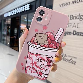 Cartoon bear cámara todo incluido caso de teléfono móvil