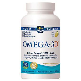 Nordic Naturals Omega-3D, 1000 mg, Citron, 120 gélules