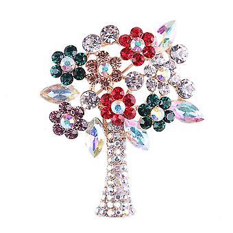 Panie Broszka Małe kwiaty Corsage Rhinestone Inlaid Szalik Clip Choinka Broszka Pin