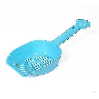 Pala de arena para gatos de gran tamaño, pala de heces de plástico para mascotas (azul)