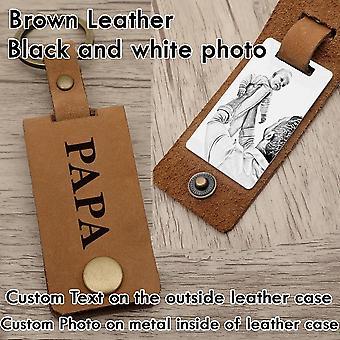 Photo keychain,custom photo keyring,leather dad key chain,photo gift for dad,custom photo keychain,personalized gift for him