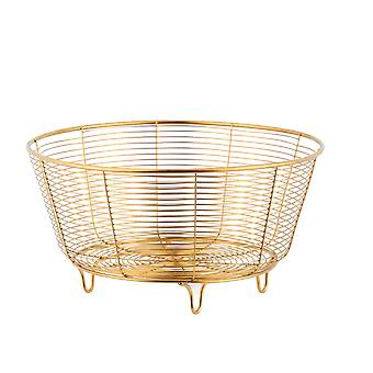 New Stainless Steel Storage Basket Home Desktop Metal Sundries Organizer Container Gold Toy Fruit