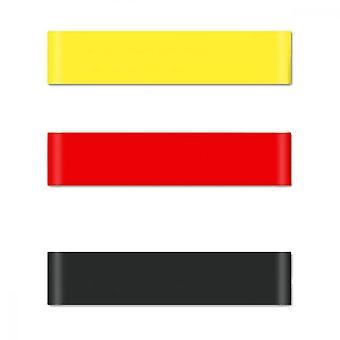 3 piezas Bandas de resistencia Fitness Ejercicio Loop Band Para el hogar Fitness Estiramiento Entrenamiento de Fuerza Terapia Física, Amarillo, Rojo y Negro