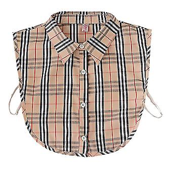 Anti Crease Halv skjorter Broderi Falsk Krage Brun Svart Plaid Avtakbar Bluse