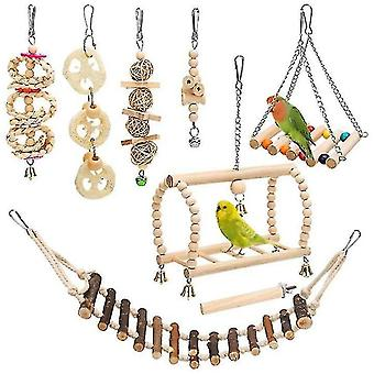 Jouets d'oiseau ensemble perruche Swing Chewing Toy With Hanging Bell