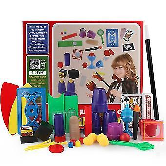 Magiske rekvisitter setter gaveeske nærbilde scenen barnas magiske leker ny merkelig interaktiv ytelse