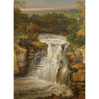 Tapet kunstmaleri Clydes fall etter en flom av James Ward