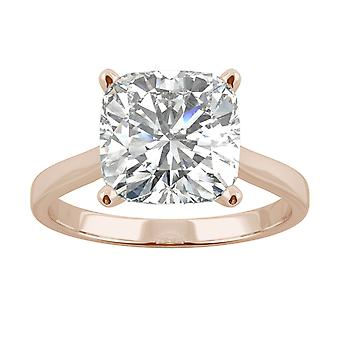 14K Rose Gold Moissanite by Charles & Colvard 9mm Cushion Solitaire Ring, 3.3ct DEW