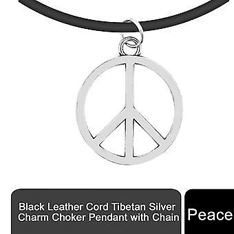 Svart läder sladd tibetansk silver charm choker hänge med kedja, fred