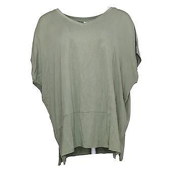 WynneLayers Women's Top Cap-Sleeve Panel Knit Tee Green 711831