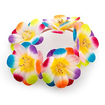 Bright Multicolour Elasticated Flower Hair Scrunchie