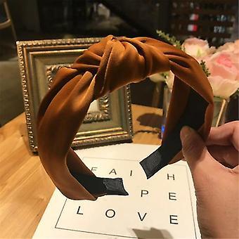 Egyszínű szatén csomózott hajpánt(Kávé)
