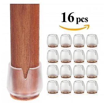 16 stk silikon stol ben gulvbeskyttere gulvbeskyttelsespute med filt for å forhindre riper