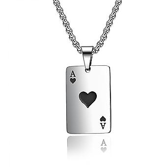 Rostfritt stål Hjärter Kort Poker Hänge Mens Womens Halsband